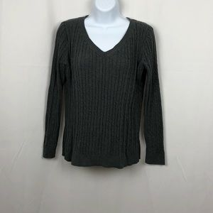 Talbots cotton cable knit V-neck sweater L